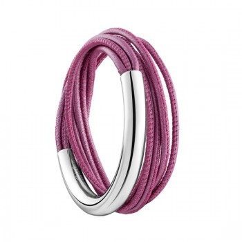 """Bracelet grand modèle en argent massif et cuir lisse rose """"Duo Complice"""" 06757065"""