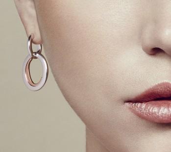 Pendentif d'oreilles en argent massif et vermeil rose